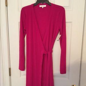 Raspberry colored wrap dress